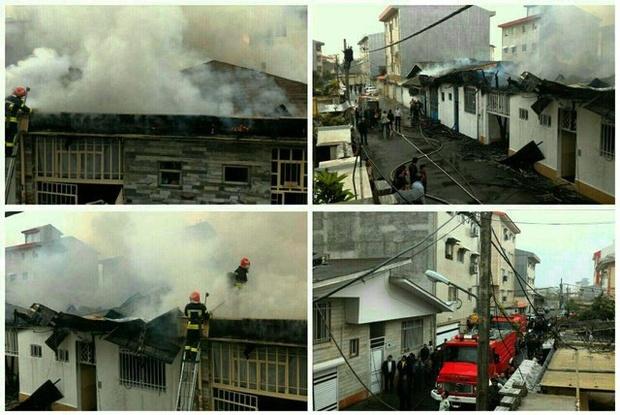 آتش سوزی شدید چند منزل مسکونی در رشت