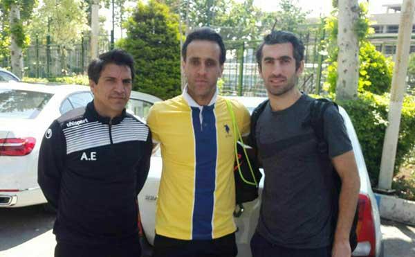 حضور مجتبی جباری در محل تمرین تیم سپید رود رشت در تهران+ عکس