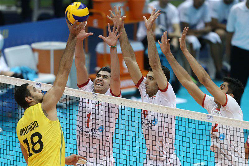 شکست والیبال ایران از برزیل با طعم امتیاز